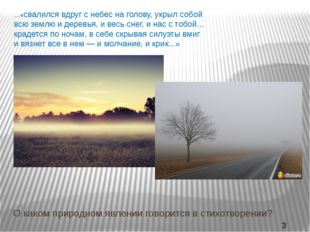 …«свалился вдруг с небес на голову, укрыл собой всю землю и деревья, и весь