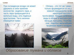 Образование тумана и облаков туман облака При охлаждении воздух не может уде