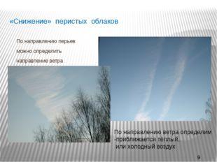«Снижение» перистых облаков По направлению перьев можно определить направлени