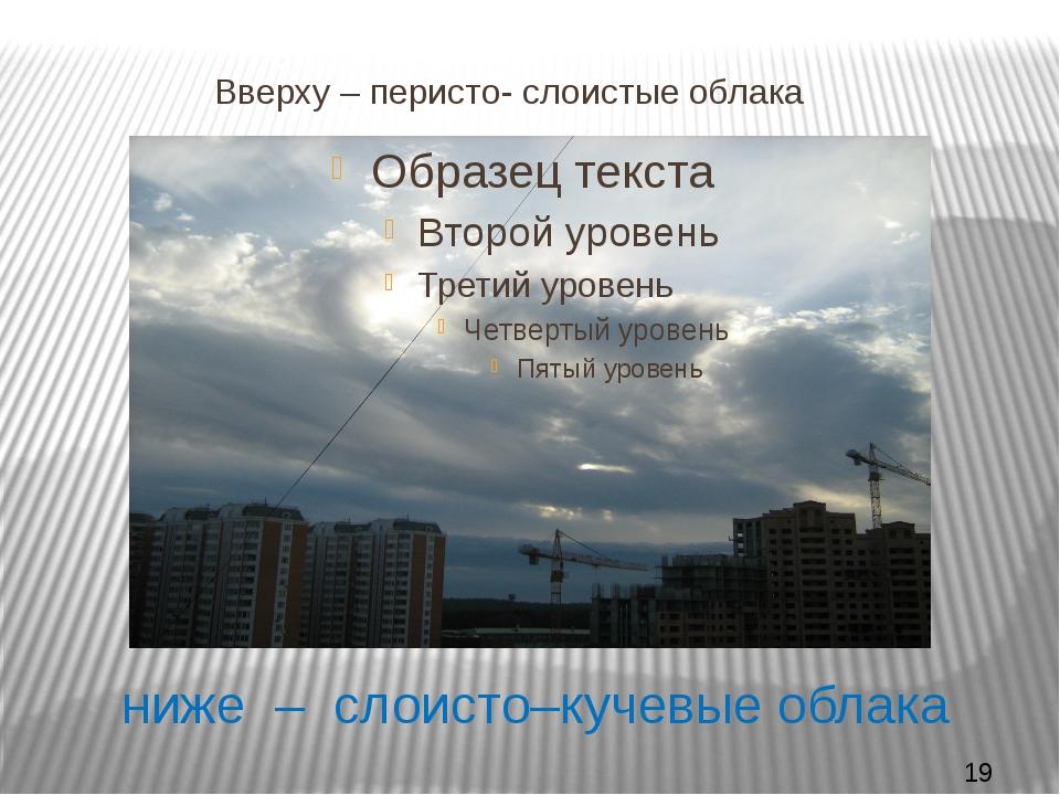 ниже – слоисто–кучевые облака Вверху – перисто- слоистые облака