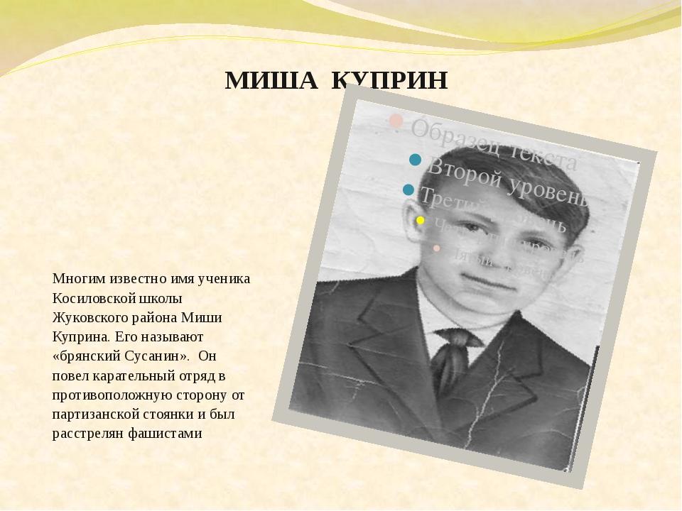 МИША  КУПРИН Многим известно имя ученика Косиловской школы Жуковского района...
