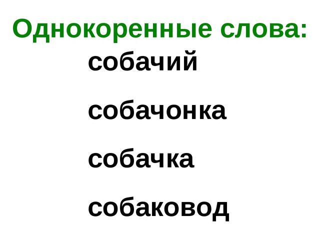 Однокоренные слова: собачий собачонка собачка собаковод