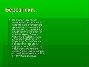 Березняки. Наиболее известным поселением дьяковцев на территории Ярославского