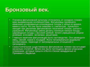 Бронзовый век. Племена фатьяновской культуры отличались от соседних племен яр