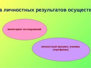 Оценка личностных результатов осуществляется: мониторинг исследований личност
