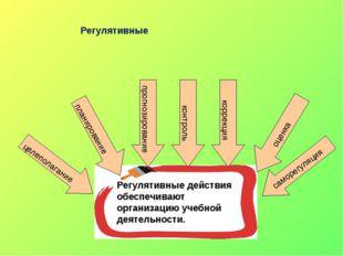 Регулятивные Регулятивные действия обеспечивают организацию учебной деятельно