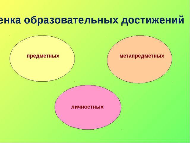 Оценка образовательных достижений личностных метапредметных предметных