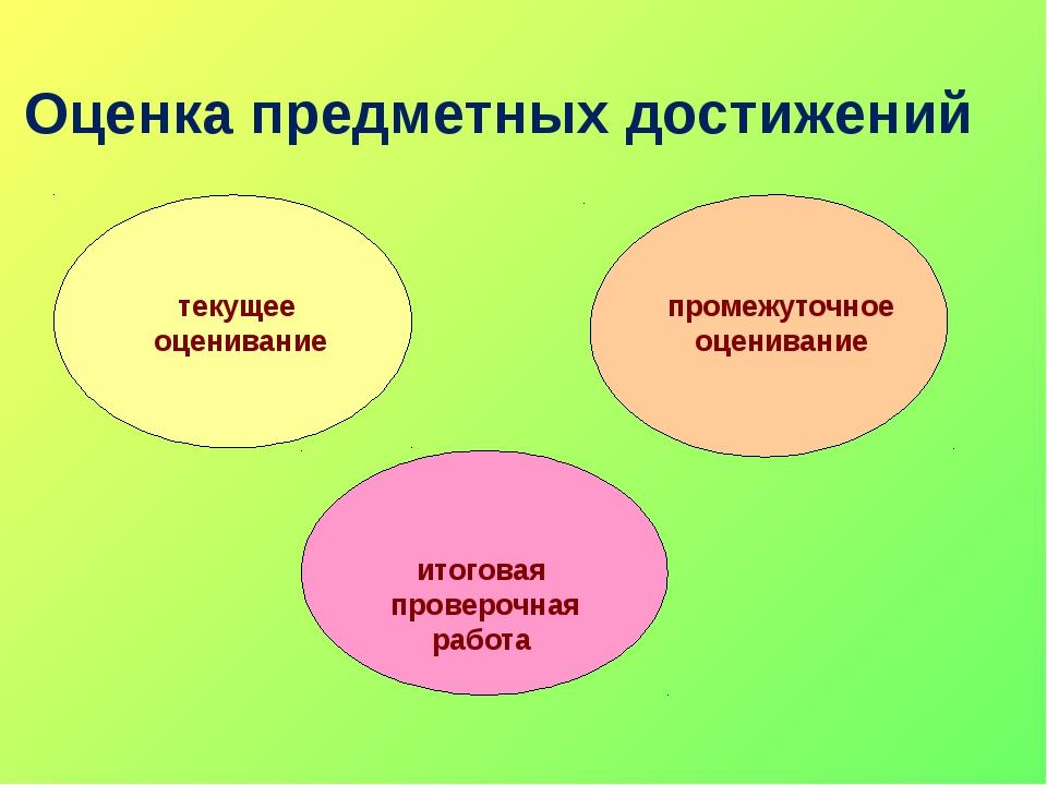 Оценка предметных достижений итоговая проверочная работа промежуточное оценив...