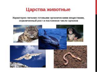 Царства животные Характерно питание готовыми органическими веществами, ограни