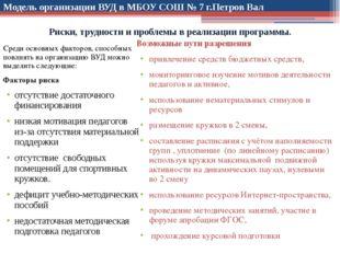 Модель организации ВУД в МБОУ СОШ № 7 г.Петров Вал Среди основных факторов, с