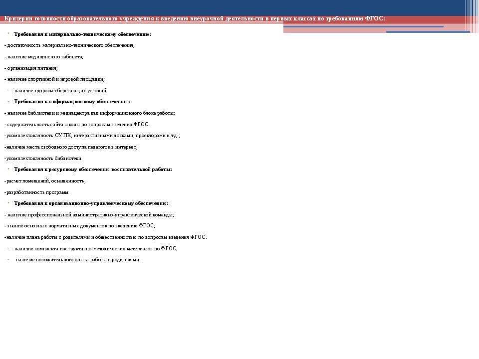 Критерии готовности образовательного учреждения к введению внеурочной деятель...