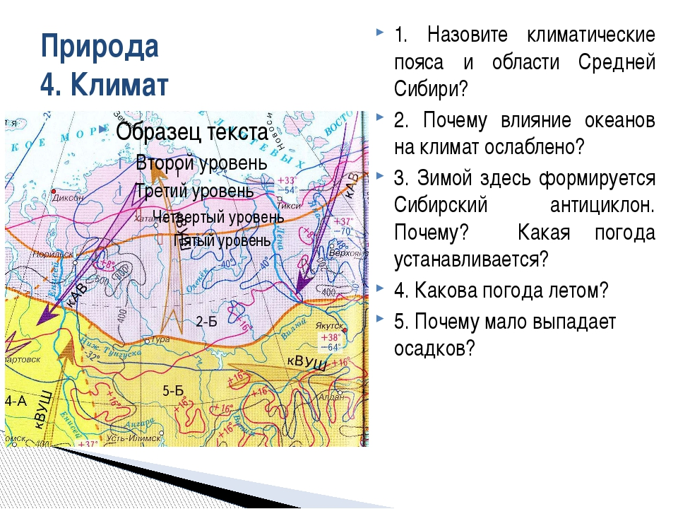Природа 4. Климат 1. Назовите климатические пояса и области Средней Сибири? 2...