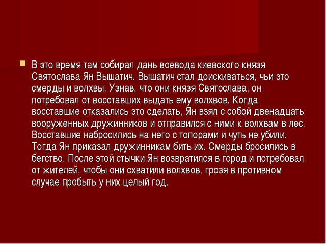 В это время там собирал дань воевода киевского князя Святослава Ян Вышатич. В...