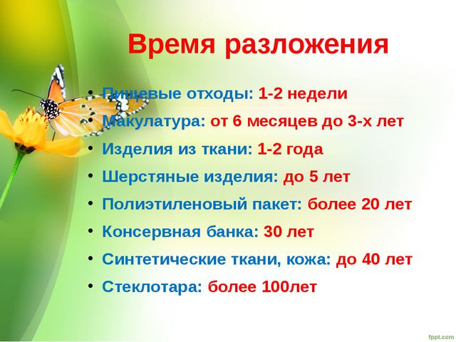 Время разложения Пищевые отходы: 1-2 недели Макулатура: от 6 месяцев до 3-х л...