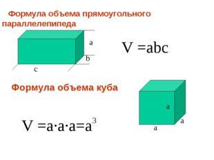Формула объема прямоугольного параллелепипеда a b c V =abc V =a·a·a=a a a a