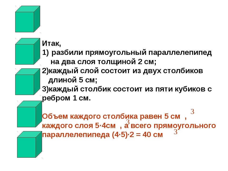 Итак, разбили прямоугольный параллелепипед на два слоя толщиной 2 см; 2)кажды...