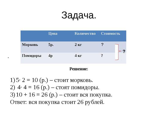 Задача. . Решение: 5· 2 = 10 (р.) – стоит морковь. 4· 4 = 16 (р.) – стоят пом...