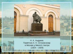 Н. А. Андреев. Памятник А. Н. Островскому в Москве у Малого театра (1924 – 19