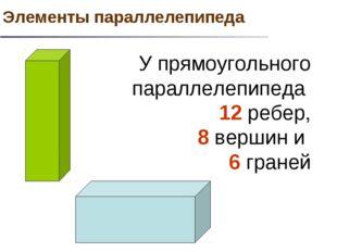 У прямоугольного параллелепипеда 12 ребер, 8 вершин и 6 граней Элементы парал