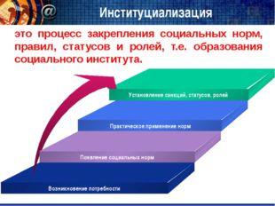 Институциализация это процесс закрепления социальных норм, правил, статусов и