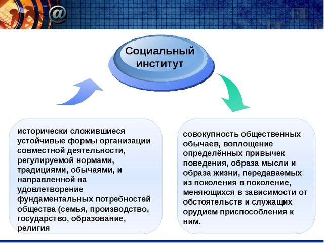 исторически сложившиеся устойчивые формы организации совместной деятельности...
