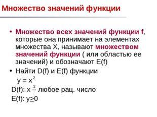 Множество значений функции Множество всех значений функции f, которые она при