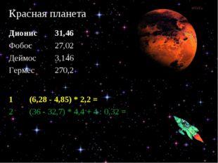 Красная планета Дионис 31,46 Фобос 27,02 Деймос 3,146 Гермес 270,2 1(6,2