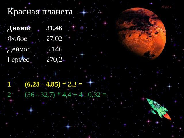 Красная планета Дионис 31,46 Фобос 27,02 Деймос 3,146 Гермес 270,2 1(6,2...