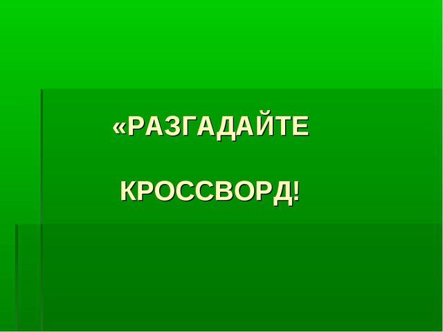 «РАЗГАДАЙТЕ КРОССВОРД!