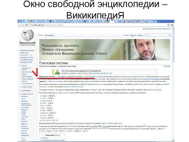 Окно свободной энциклопедии –ВикикипедиЯ