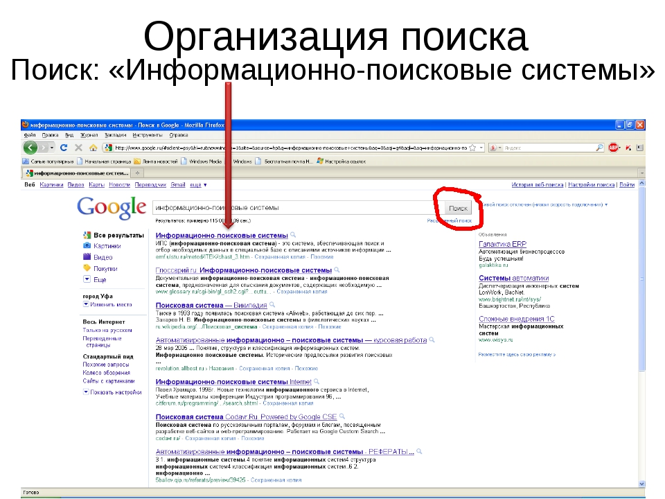 Организация поиска Поиск: «Информационно-поисковые системы»