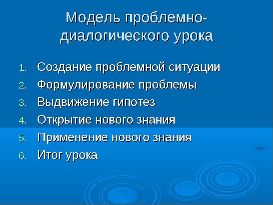 Модель проблемно-диалогического урока Создание проблемной ситуации Формулиров...