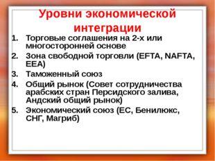 Уровни экономической интеграции Торговые соглашения на 2-х или многосторонней