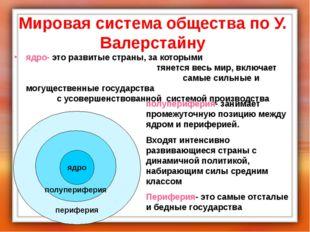 Мировая система общества по У. Валерстайну ядро- это развитые страны, за кото