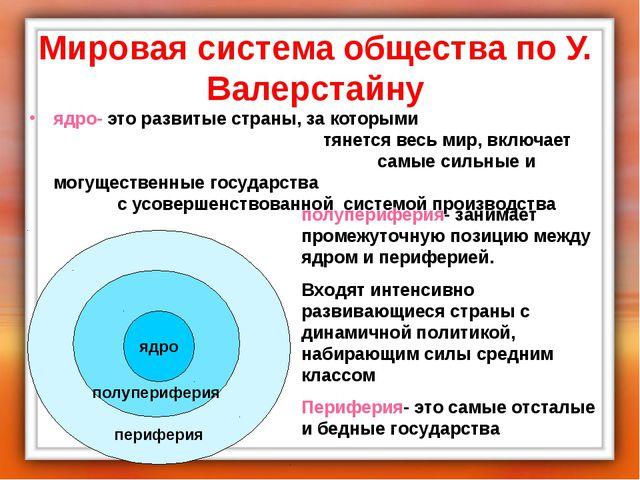 Мировая система общества по У. Валерстайну ядро- это развитые страны, за кото...