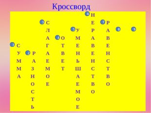 Кроссворд 1 2 3 4 7 8 9 5 6 Н СЕР ЛУРА АОМАВ С