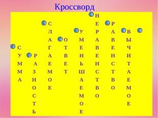 Кроссворд 1 2 3 4 7 8 9 5 6 Н СЕР ЛУРАВ АОМАВЫ С