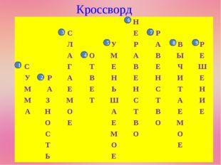 Кроссворд 1 2 3 4 7 8 9 5 6 Н СЕР ЛУРАВР АОМАВЫЕ