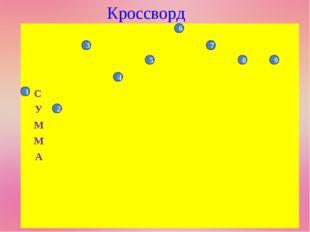 Кроссворд 1 2 3 4 7 8 9 5 6     С У