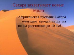 Сахара захватывает новые земли Африканская пустыня Сахара ежегодно продвигает