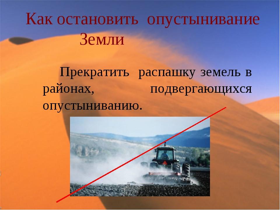 Как остановить опустынивание Земли Прекратить распашку земель в районах, подв...