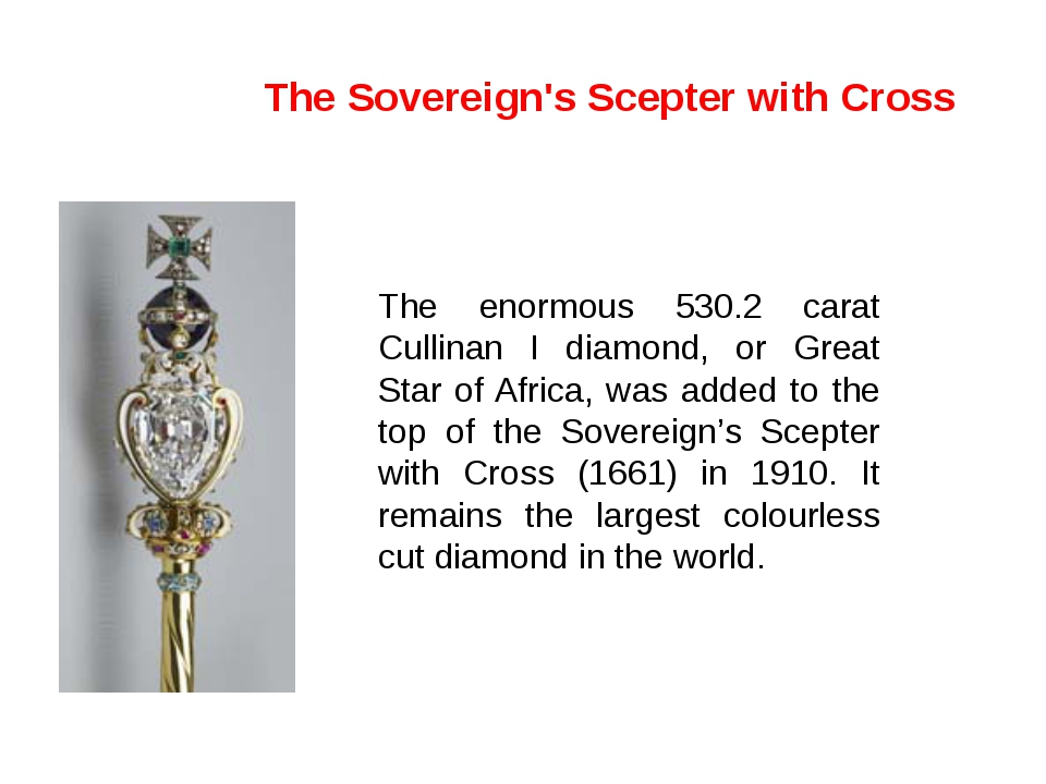 The enormous 530.2 carat Cullinan I diamond, or Great Star of Africa, was add...