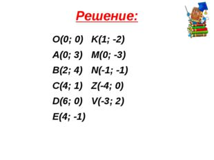 Решение: О(0; 0)K(1; -2) A(0; 3)M(0; -3) B(2; 4)N(-1; -1) C(4; 1)Z(-4