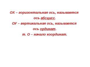 ОХ – горизонтальная ось, называется ось абсцисс. ОУ – вертикальная ось, назыв