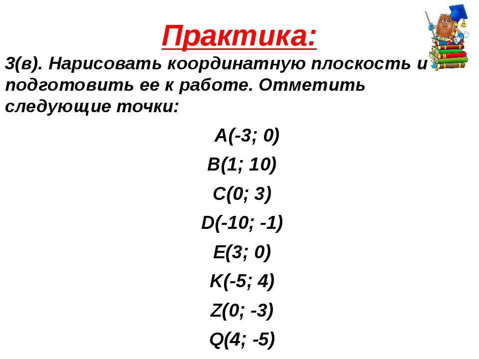 Практика: 3(в). Нарисовать координатную плоскость и подготовить ее к работе....