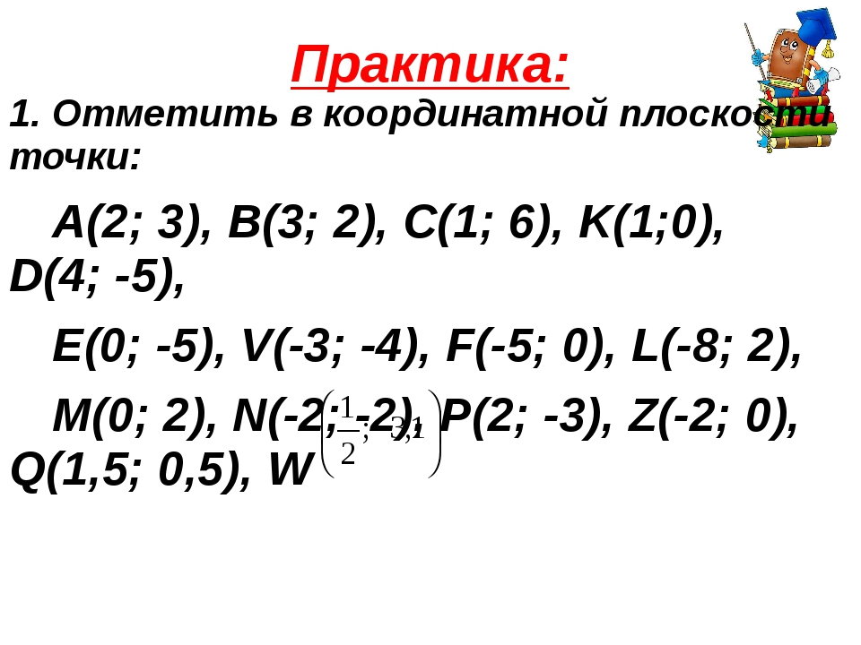 Практика: 1. Отметить в координатной плоскости точки: А(2; 3), B(3; 2), C(1;...