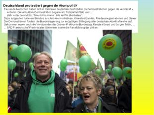 Deutschland protestiert gegen de Atompolitik Tausende Menschen haben sich in