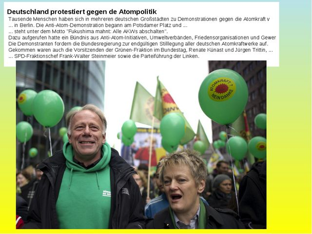 Deutschland protestiert gegen de Atompolitik Tausende Menschen haben sich in...