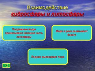 Взаимодействие гидросферы и литосферы Подземные воды пронизывают нижнюю часть