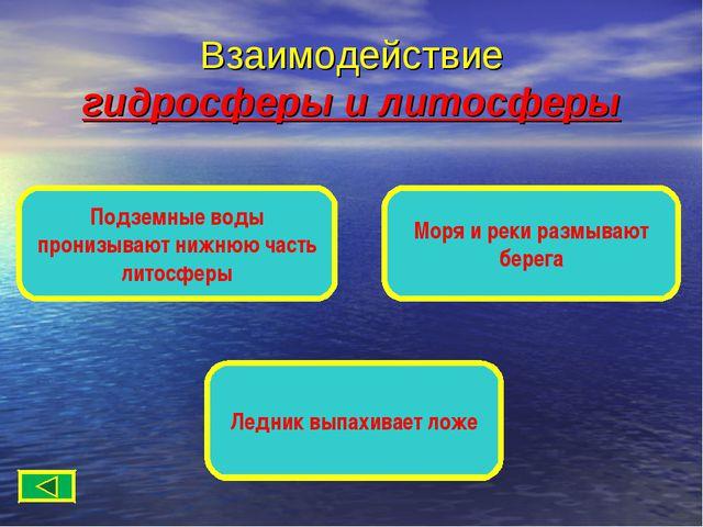 Взаимодействие гидросферы и литосферы Подземные воды пронизывают нижнюю часть...